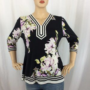 JM Collection 3/4 Sleeve V Neck Blouse 194D